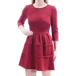 CITY STUDIO $41 Womens New 1223 Maroon Pleated 3/4 Sleeve Dress 1 Juniors B+B