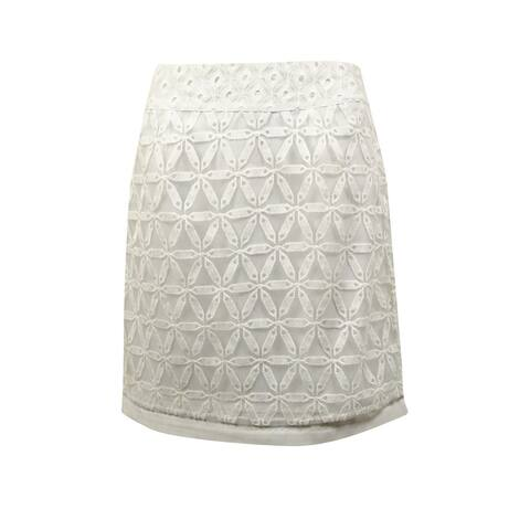 Laundry Women's Embroidered Georgette Pencil Skirt - Optic White