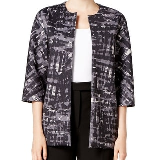 Anne Klein NEW Gray Black Women's Size 16 Open Front Abstract Jacket