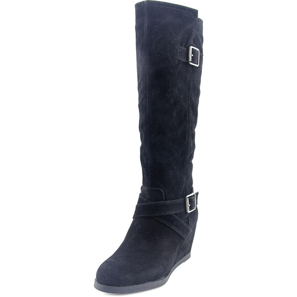 Famous Name Brand Dustin Women Round Toe Synthetic Black Knee High Boot