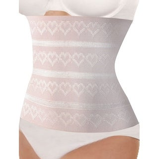 Unique Bargains Women 3 Rows Heart Pattern Slimming Belt Corset Waist Cincher Pink S
