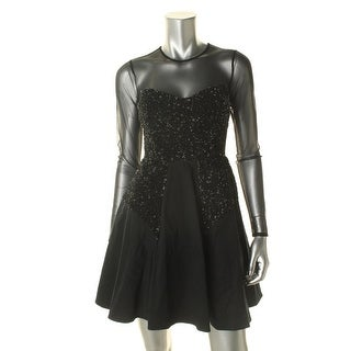 French Connection Womens Mesh Inset Sequined Clubwear Dress - 0