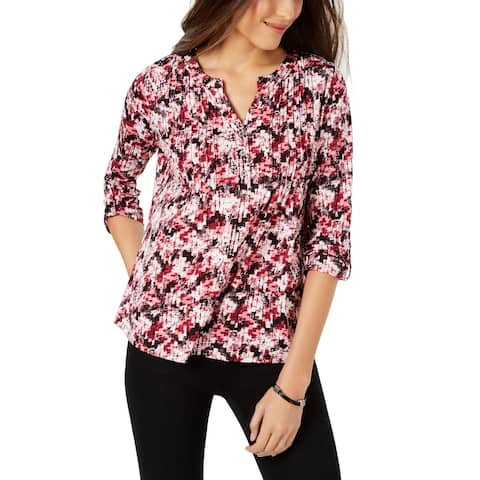 NY Collection Womens Petites Henley Top Printed Pleated - PXL