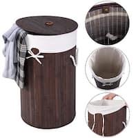 Costway Round Bamboo Hamper Laundry Basket Washing Cloth Storage Bag Lid Brown