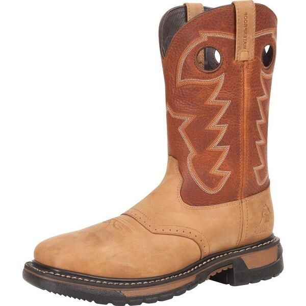 "Rocky Western Boots Mens 11"" Original Ride Steel Toe WP Brown"