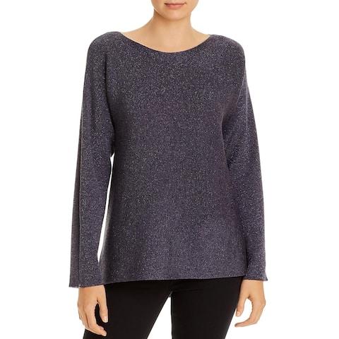 Eileen Fisher Womens Tunic Sweater Metallic Sparkle Wool Blend - Blue Shale