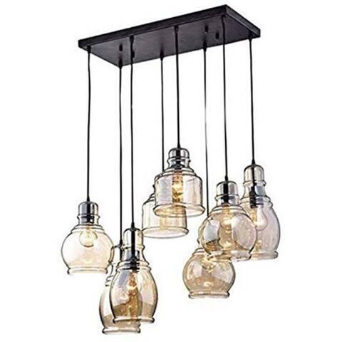 8 light cognac glass industrial antique black chandelier