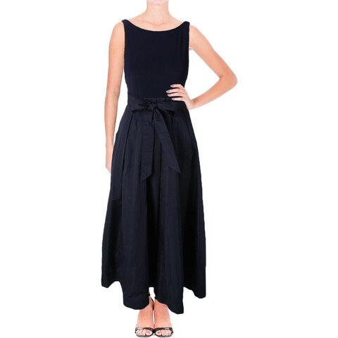 Lauren Ralph Lauren Womens Petites Evening Dress Mixed Media Open Back