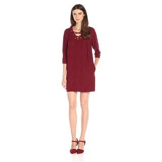 Kensie Lace-Up Mini Dress Wine - s