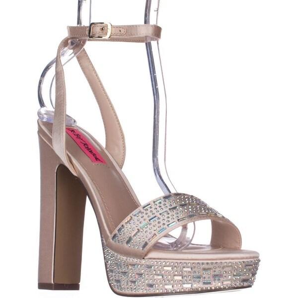 Betsey Johnson Alliie Ankle Strap Platform Dress Sandals, Champagne