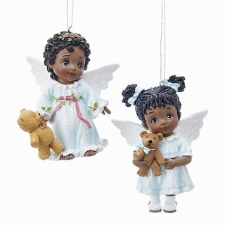pack of 12 white and light blue african american little angels cultural christmas ornaments 3