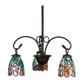 Meyda Tiffany 27416 Stained Glass / Tiffany 3 Light Down Lighting Chandelier from the Fixtures Collection