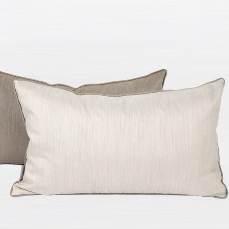 """G Home Collection Luxury White And Taupe Two Color Faux Silk Pillow 12""""X20"""""""