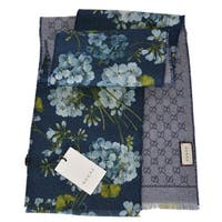 "Gucci Women's 415469 Wool GG and Blooms Print Skinny Scarf Muffler - 69"" x 8"""