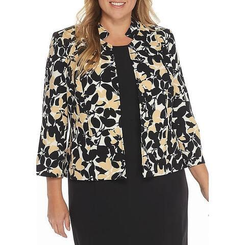Kasper Women's Jacket Yellow Plus Floral Print Jacquard
