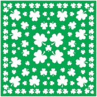 Club Pack of 12 Green and White St. Patrick's Day Shamrock Bandana 22""