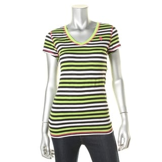 U.S. Polo Assn. Womens Juniors Cotton Striped Pullover Top - M