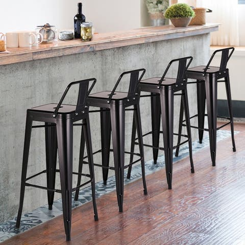 Vecelo 36 Inch Bistro Wood Seat Vintage Finish Bar Stools Set Of 4
