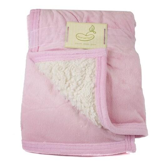 Beansprout Pink Micro Mink Reversing Sherpa Crib Throw Blanket