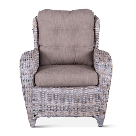 Bali Gray Whitewash Wicker Armchair