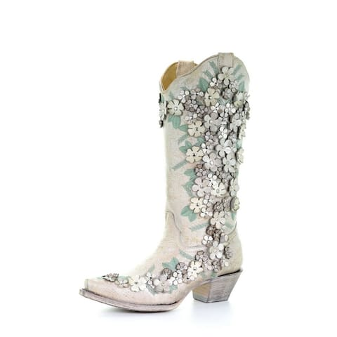 """Corral Western Boots Womens Floral Overlay Embroidery 13"""" White"""