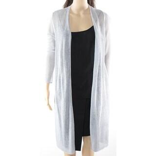 Alfani NEW Silver Womens Size Medium M Long Open Front Cardigan Sweater