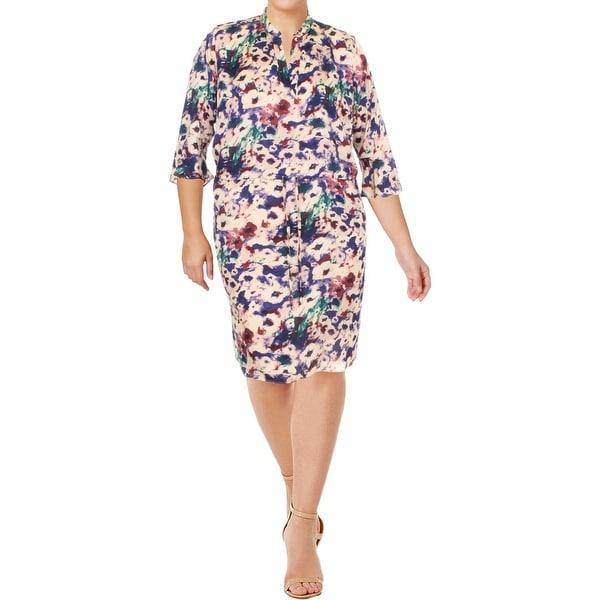 Lauren Ralph Lauren Womens Plus Casual Dress Floral Print Bell Sleeves