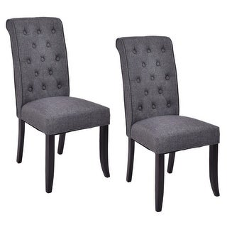 Costway Set of 2 Dining Chairs Fabric Upholstered Tufted Armless Accent Home Kitchen