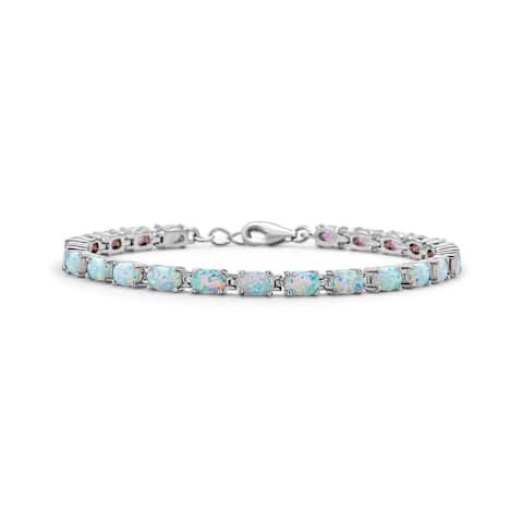 Tennis Bracelet Oval Created Opal Sterling Silver October Birthstone