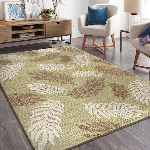 LR Home Retreat Tropical Leaf Botanical Indoor/Outdoor Rug