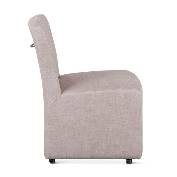 Lily Off White Linen Dining Chair Overstock 14137432