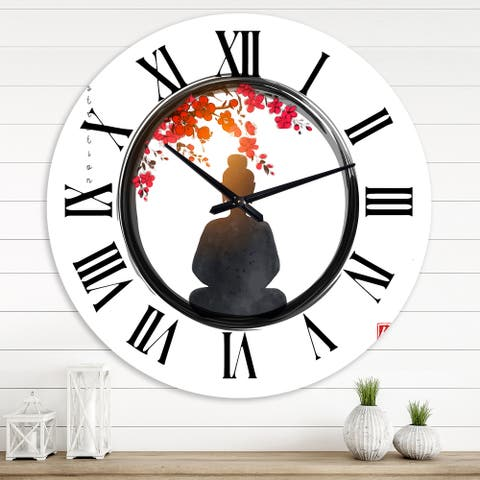 Designart 'BuddHa in Zen Circle With Red Flowers' Farmhouse wall clock