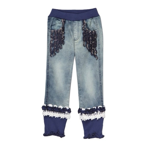 Rock'nStyle Baby Girls Blue Rusching Trim Owl Patch Denim Pants