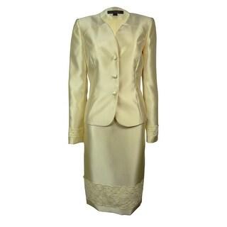 Tahari Women's Lace Trim Palm Beachy Skirt Suit - buttercup yellow