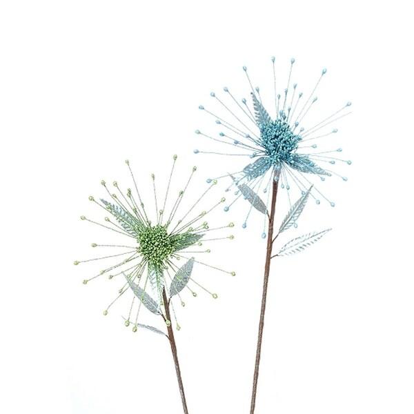 "30"" Winter Frost Green Glittered Fuji Mum Flower Christmas Spray"