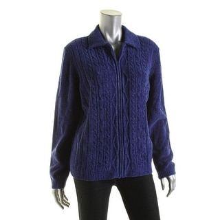 Alfred Dunner Womens Cable Knit Long Sleeves Full Zip Sweater