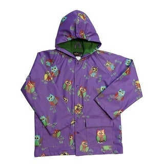 Girls Purple Owls Rain Coat 8-10
