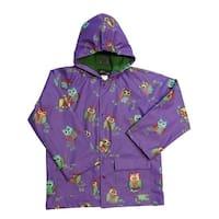 Little Girls Purple Owls Rain Coat 2T-6