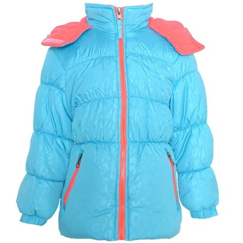 Pink Platinum Little Girls Turquoise Coral Hooded Puffer Jacket 2T