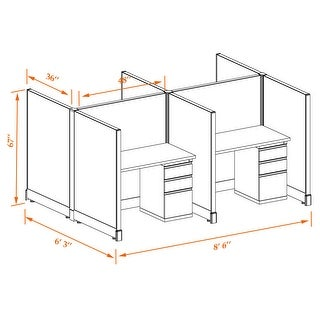 Office Cubicle Desk 53H 4pack Cluster Unpowered (3x4 - White Desk Silver Paint - Assembled)