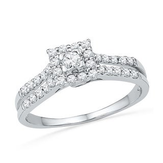10k White Gold Womens Natural Round Diamond Square-shape Halo Bridal Engagement Ring 1/2 Cttw