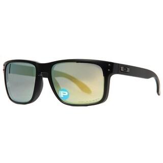 black and yellow oakley sunglasses r7ig  Oakley Holbrook OO9102-50 Matte Black Emerald Iridium Polarized Sunglasses