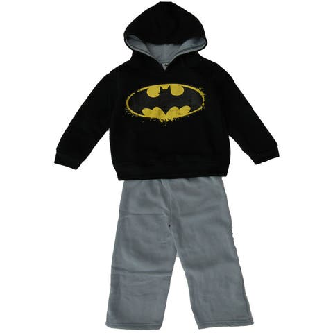 DC Comic Boys Batman 2pc Black Hooded Sweatshirt Gray Pants Outfit