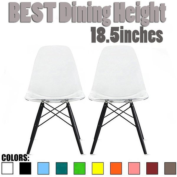 2xhome   Set Of 2 Clear Modern Designer Acrylic Plastic Chair Dining Chairs  Dark Black Wood
