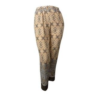 Ellen Tracy Women's Straight Leg Drawstring Pants - Cashew Multi - XS
