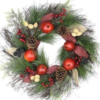 "24"" Autumn Harvest Mixed Pine, Berry and Nut Thanksgiving Fall Wreath - Unlit"