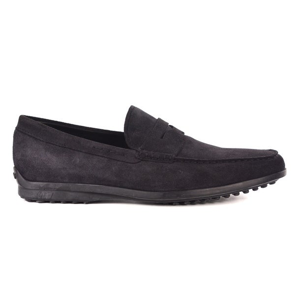 Shop Tods Mens Navy Blue Suede Penny Bar Loafers Free