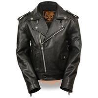 Kids Updated Black Leather Motorcycle Jacket