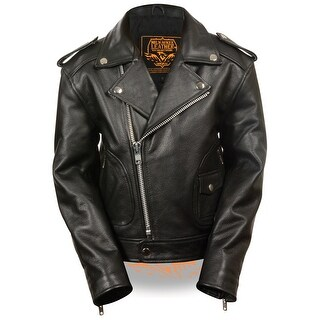 Kids Updated Black Leather Motorcycle Jacket (More options available)