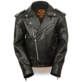 Kids Updated Black Leather Motorcycle Jacket